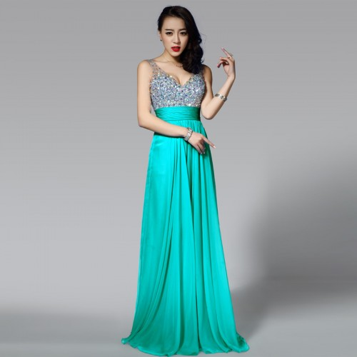 Green V-Neck Chiffon Shimmering Dress (FREE NUBRA)