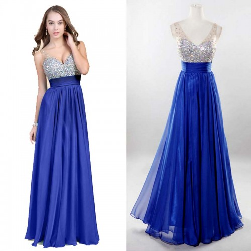 Blue V-Neck Chiffon Shimmering Dress (FREE NUBRA)