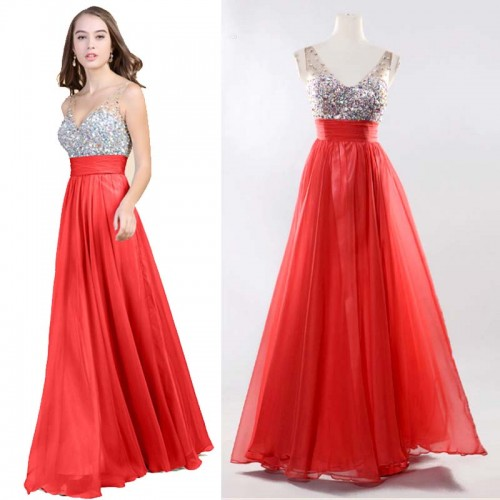Red V-Neck Chiffon Shimmering Dress (FREE NUBRA)