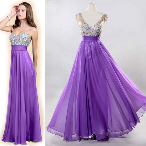 Purple V-Neck Chiffon Shimmering Dress (FREE NUBRA)