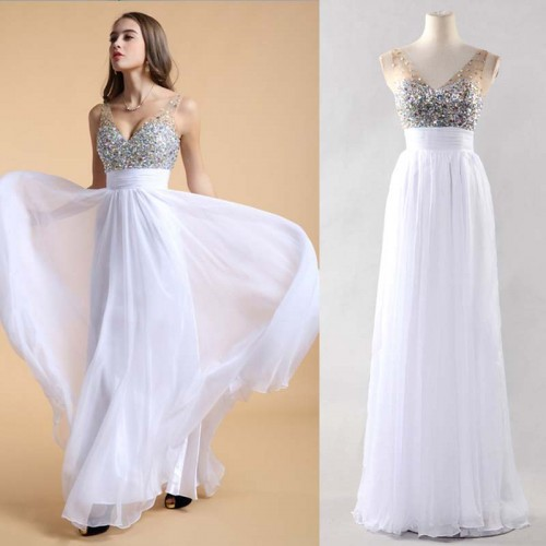 White V-Neck Chiffon Shimmering Dress (FREE NUBRA)