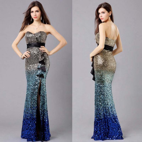 Shimmering Sequin Fish Tail Long Gown (FREE NUBRA)