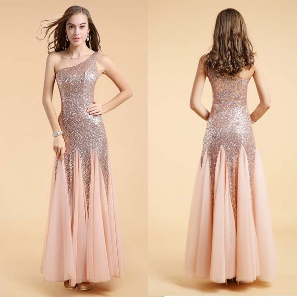 One Shoulder Sequin Chiffon Long Evening Gown (FREE NUBRA)