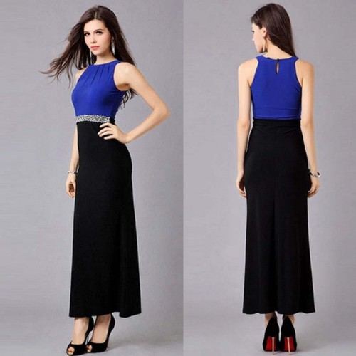 Blue Long Dress with Stone (FREE NUbra) (Size M)