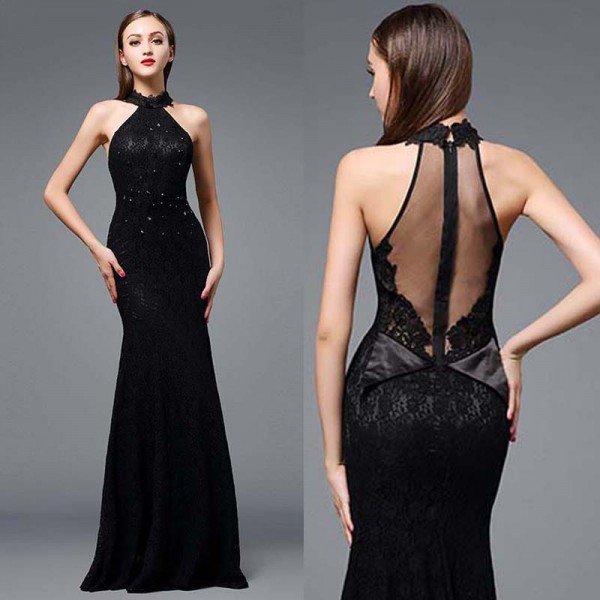 Black Lace Fish Tail Dress (FREE Stick On Bra)