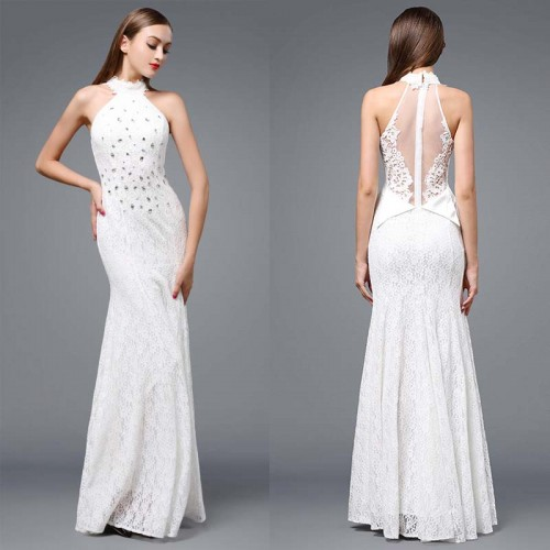 White Lace Fish Tail Dress (FREE Stick On Bra)