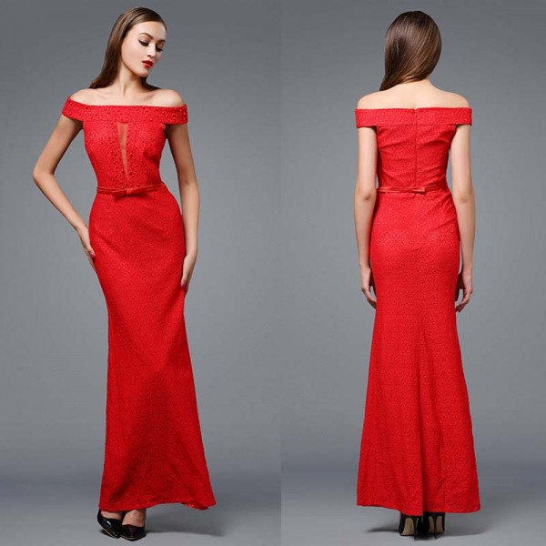 Red Off Shoulder Fish Tail Dress