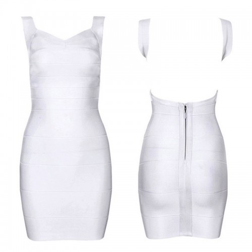 White Sexy Back Bandage Bodycon Dress
