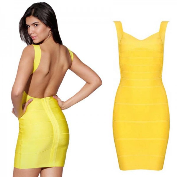 Yellow Sexy Back Bandage Bodycon Dress