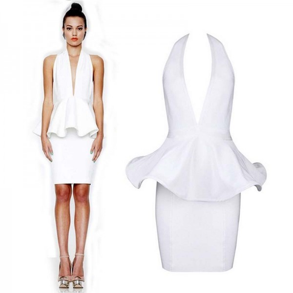 White Deep-V BareBack Bodycon Dress