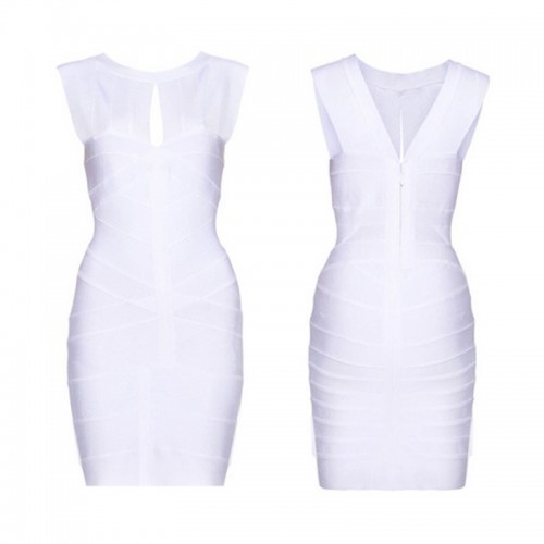 White Sexy Cut Out Bandage Bodycon Dress