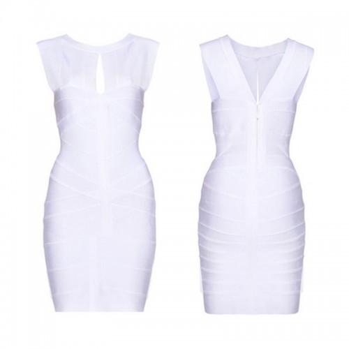 White Sexy Cut Out Bandage Bodycon Dress