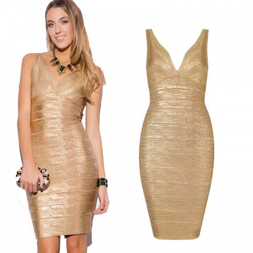 Gold V-Neck Shimmer Bandage Bodycon Dress (Size XS,S)