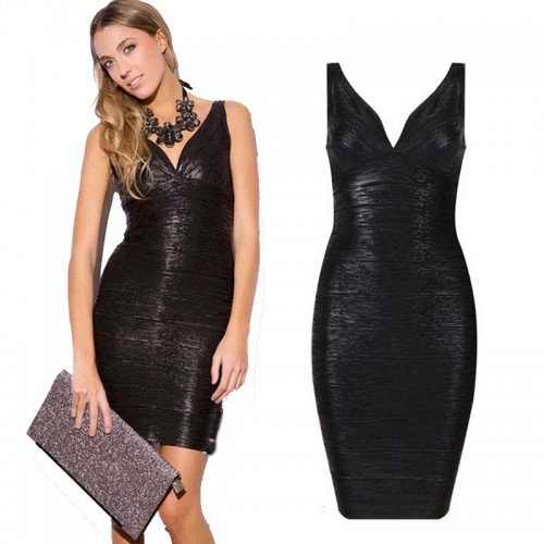 Black V-Neck Shimmer Bandage Bodycon Dress