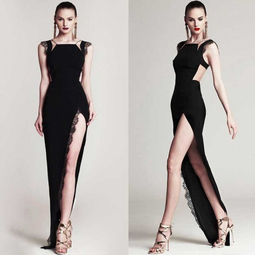 Elegant Bodyfit Long Slit Dress (Free Stick On Bra)