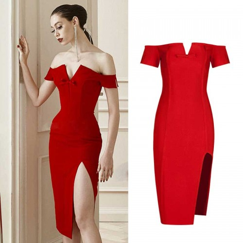 Red Bandage Slit Dress (FREE Stick On Bra)