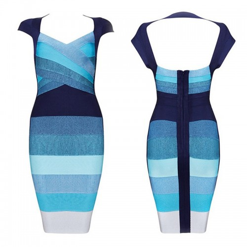 Blue Gradient Bandage Bodycon Vest Dress