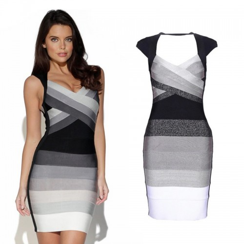 Gradient Bandage Bodycon Vest Dress