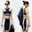 Rivet Details Colour Block Bandage Dress