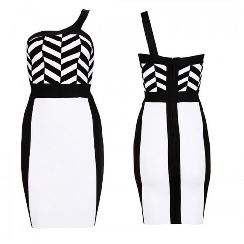 One Shoulder Blank&White Bandage Dress