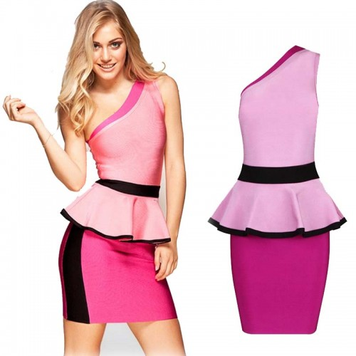 One Shoulder Bandage Peplum Dress
