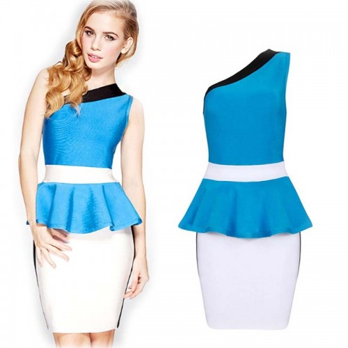 Blue One Shoulder Bandage Peplum Dress