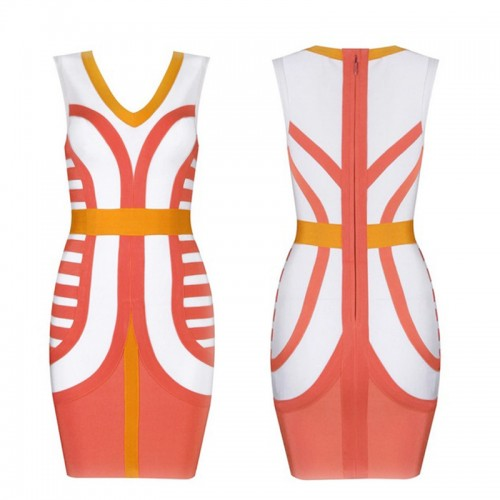 Printed Colour Block V-Neck Bandage Dress