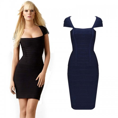 Black Square Neck Bandage Dress