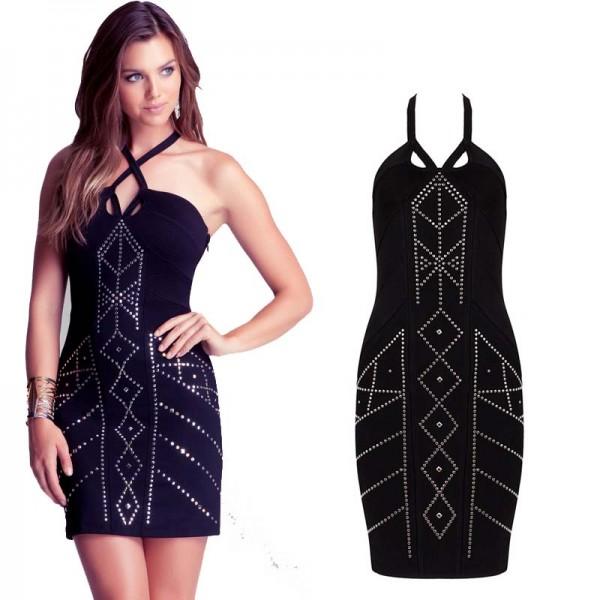 Rivet Details Halter Bandage Dress