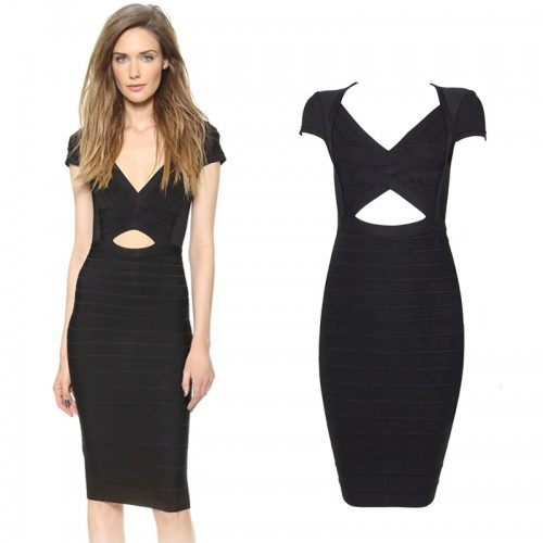 V-Neck Little Black Cut Out Bandage Dress