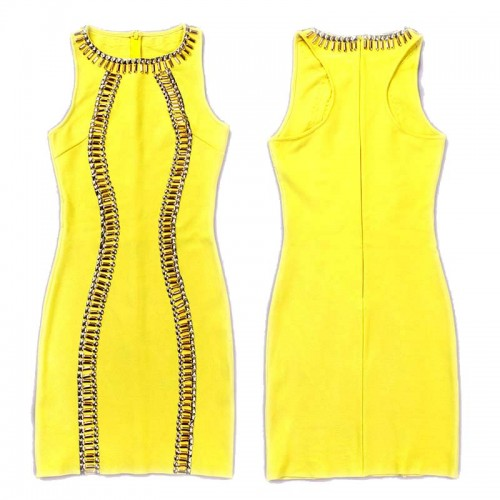 Yellow Beaded Sleeveless Bandage Dress