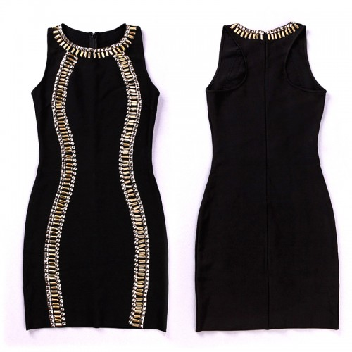 Black Beaded Sleeveless Bandage Dress