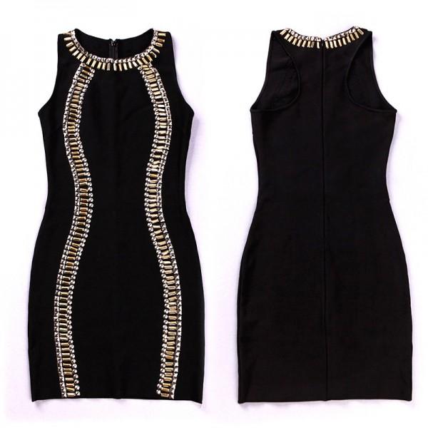 Black Beaded Sleeveless Bandage Dress