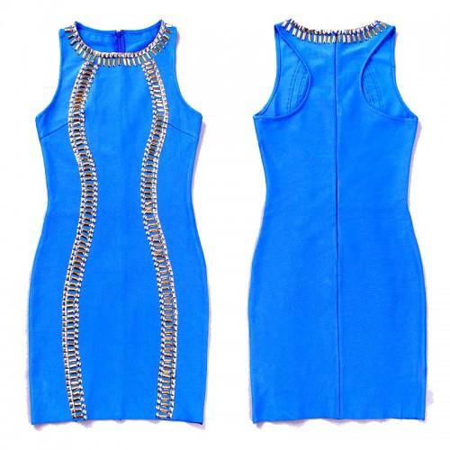 Blue Beaded Sleeveless Bandage Dress