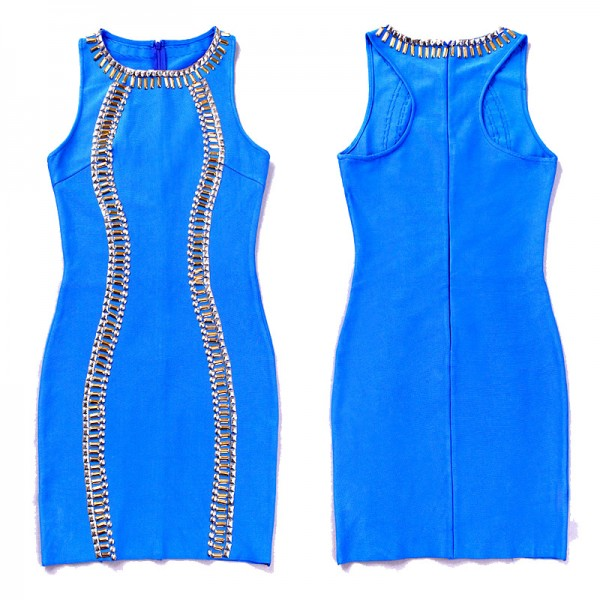 Blue Beaded Sleeveless Bandage Dress