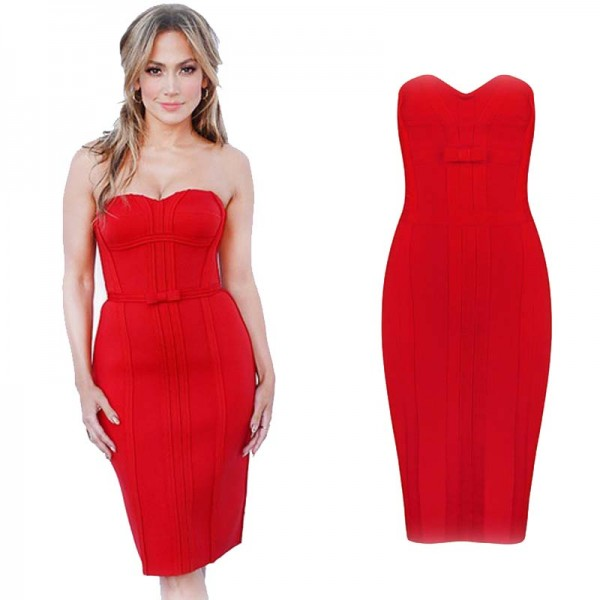 Ribbon Sweet Heart Bandage Tube Dress