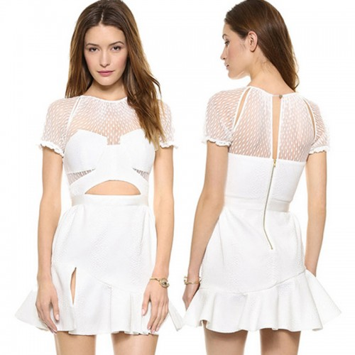 Ruffles Cut-Out White Dress