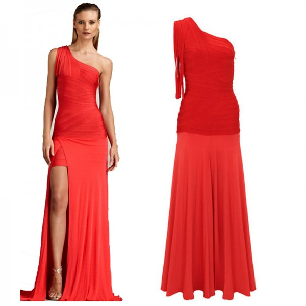One Shoulder Ruffles Details Body Con Open Slit Long Dress