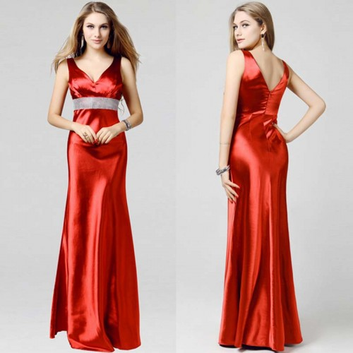 V-Neck Shimmering Stone Long Dinner Gown