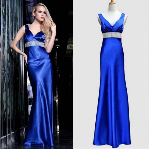 Blue V-Neck Shimmering Stone Long Dinner Gown