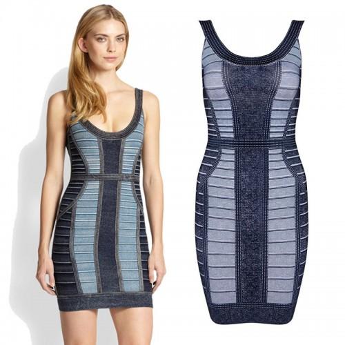 Colour Block U Neck Bodycon Singlet Dress
