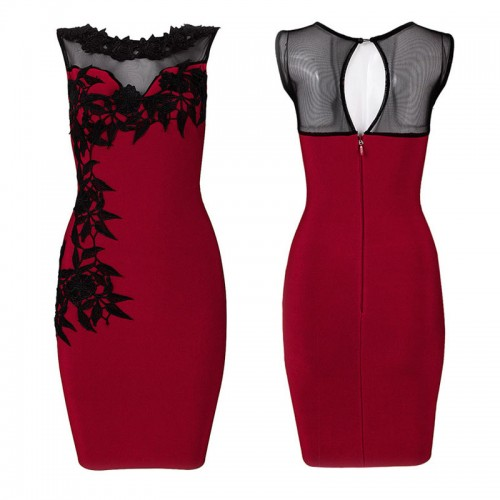 Flower Embroidery Red Sleeveless Body con Dress