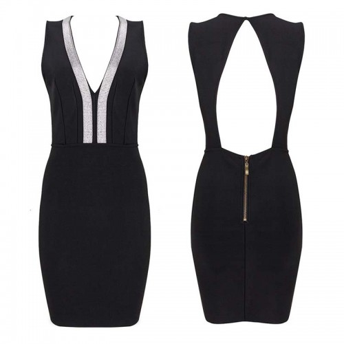 Silver Hem V Neck Black Bodycon Back Cut-out Short Dress