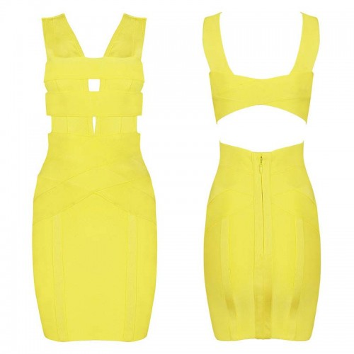 Yellow Sexy Cut-Out Bodycon Short Dress