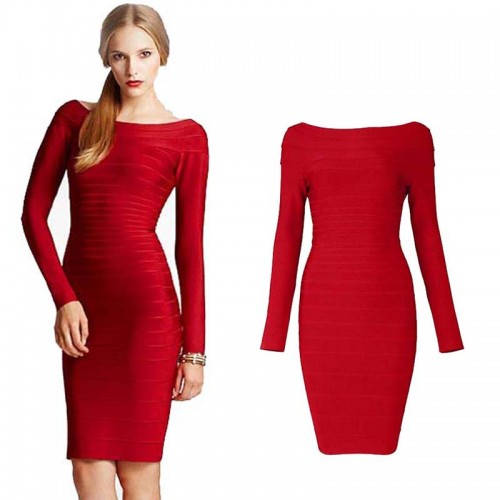 Red Long Sleeves Bodycon Bandage Midi Dress