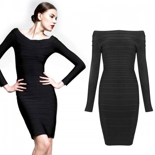 Black Long Sleeves Bodycon Bandage Midi Dress
