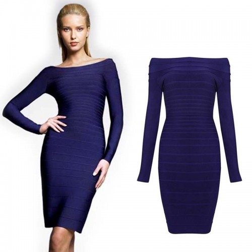 Blue Long Sleeves Bodycon Bandage Midi Dress