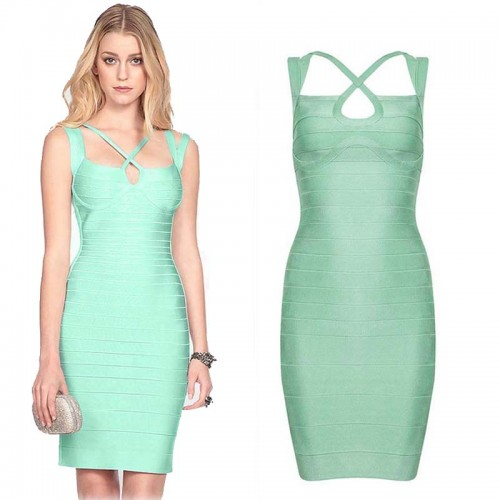 Baby Green Short Bandage Dress