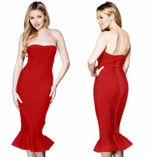 Fish Tail Bandage Dress (FREE Stick On Bra)