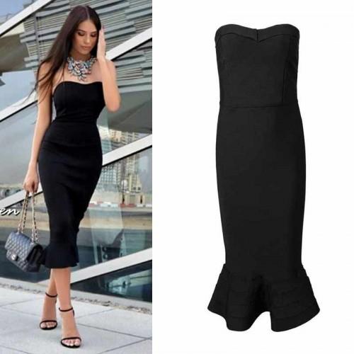 Black Fish Tail Bandage Dress (FREE Stick On Bra)